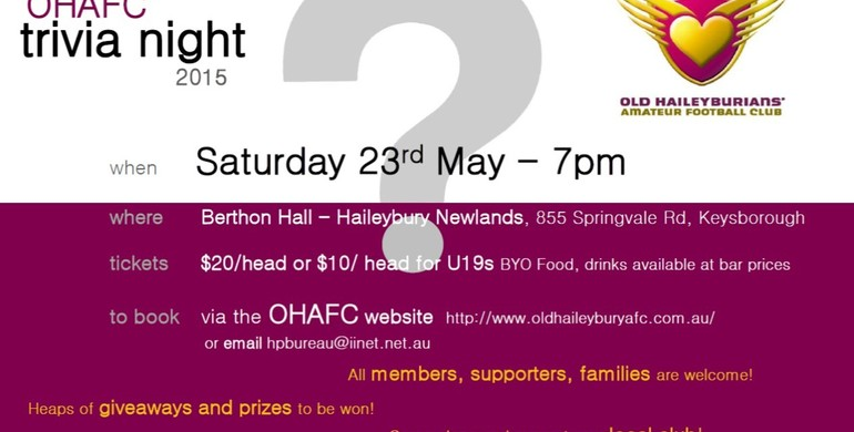 Old Haileyburians' Amateur Football Club - Trivia Night - Sat 23rd May