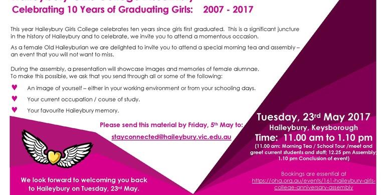 Celebrating 10 years of Graduating Girls at Haileybury.