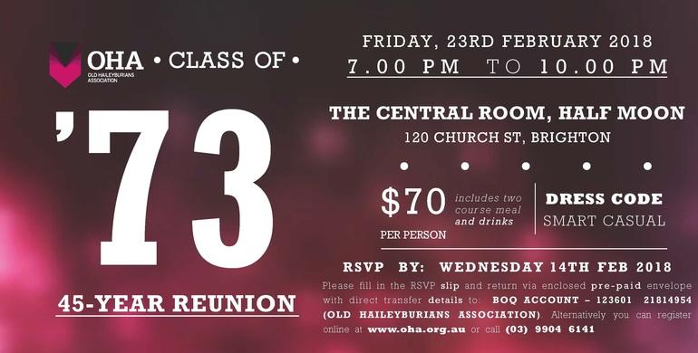 Class of 1973 45-Year Reunion Dinner