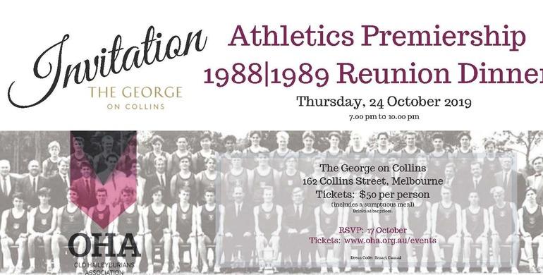 Athletics Premiership 1988 1989 Reunion Dinner